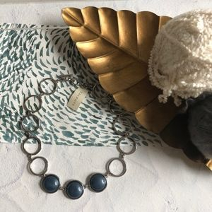 Talbots Blue Silver Circle Stone Necklace